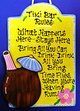Tiki Bar Rules SIGN Hot Tub Patio Pool Tropical Hawaiian Decor Deck Wall Plaque