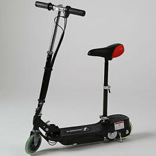 BLACK KIDS ELECTRIC SCOOTER ESKOOTER SIT STAND ADJUSTABLE BATTERY POWERED TOY