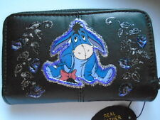 NEW BLACK LEATHER EEYORE   IMAGE   PICTURE PURSE