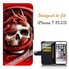 Apple iPhone 7 PLUS Wallet Flip Phone Case Cover Skull Dragon Y00160