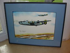 George Sperl B-24 Liberator Bomber Watercolor Print Signed 12/500