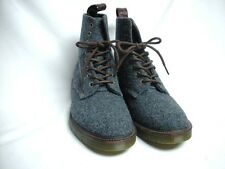 Dr Martens Blue Harris Tweed Ankle Boots Size 8 Doc Men's Shoe England Mint