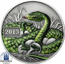 Tokelau 5 Dollars Silber 2013 Antique Finish Jahr der Schlange colored Edition