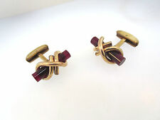 ANTIQUE VICTORIAN ROLLED GOLD PLATED ROSE GOLD KNOTTED CUFF LINKS RED GLASS TUBE