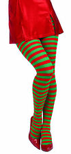 Ladies Red and Green Striped Tights Christmas Elf  Adult Size