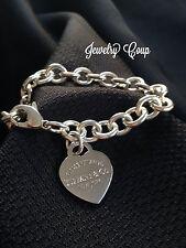 Tiffany & Co .925 Sterling Silver Rolo Link Heart Charm Bracelet 35.7 grams!