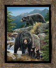 """Wild Wings Cool Waters Bear Wallhanging Panel 100% cotton 44"""" fabric panel 36"""""""
