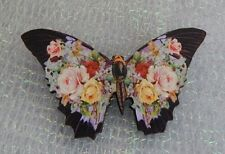 Vintage Style Floral Butterfly Brooch or Scarf Pin Jewelry Art Wood Black