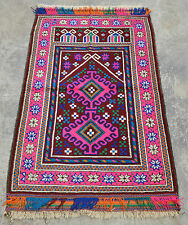BALUCHI HANDMADE SHEEP WOOL PRAYER RUG (128 X 77 CM) AFGHANI RUG, WASHED RUG