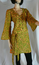 Kaftan Indian Tunic Top Size 18 Floral Floaty Long Tunic Sari Boho Kurta Kameez