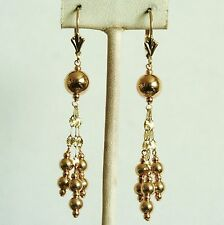 14k solid yellow gold dangle drop ball chandelier earrings leverback 2.0 gram