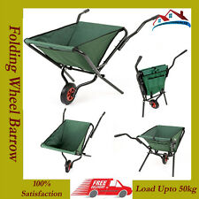 GREEN LIGHTWEIGHT SPACE SAVING FOLDING GARDEN WHEELBARROW MAX LOAD UP TO 50 KG