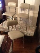 "3 Vtg HEYWOOD WAKEFIELD Chrome /Vinyl Chairs 16""X161/2"" Seats 19"" High Very Good"