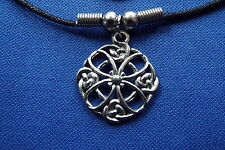 """Celtic Knot Flower Cosmic Pewter Pendant - 16"""" Boot Lace Clasped Cord Necklace"""