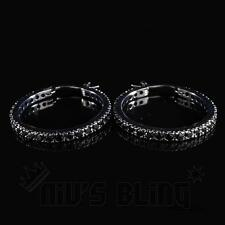 18K Black Gold ICED OUT AAA Lab Diamond Micropave Huggie Hoop HipHop Earring H5M
