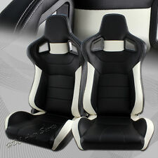 Black/White Stripe PVC Leather Sport Reclining Racing Seats +Sliders Universal 2