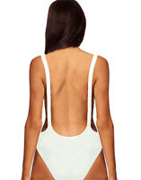 Womens White* Backless* Cut Out Stretch Bodysuit Party Leotard Bralet Top