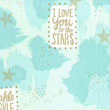 Aqua gold glitter star fabric - Michael Miller Magic - You Are Magic