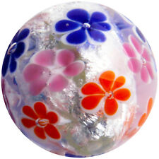 22mm MORNING DEW Pink Orange Flower Handmade Contemporary art glass Marble 7/8""