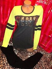 Victorias Secret PINK Baseball Colorblock Sequin Shirt & Leggings Yellow Small