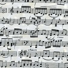Fabric Music Staff Lines and Note Sheet Music Black on Cream Cotton  1/4 yard