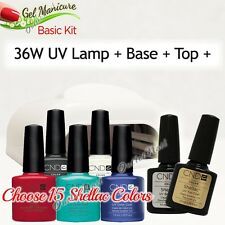 GEL MANICURE BASIC GIFT KIT: 36W UV LAMP Pro+Base Top +15 CND Shellac Colors SET
