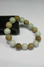 Natural Grade A light yellow/white  jade 10 mm beaded stretchy bracele(16 beads)