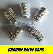 CHROME SILVER VALVE TYRE DUST WHEEL CAPS PEUGEOT 307