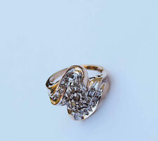 Ladies Ribbon Style Diamond Cluster Ring w/ 28 Genuine Dia. - 10K Yellow Gold