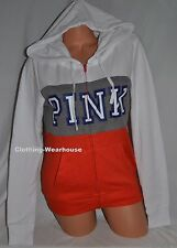 Victoria's Secret Pink White Clay Gray Red/Orange Perfect Zip Up Hoodie Small S