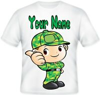 BOYS KIDS Top Personalised ARMY SOLDIER Sublimation print T Shirt Any Name GIFT
