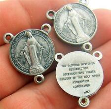 MRT Lot of 3 Miraculous Mary Medal Rosary Mysteries Centerpiece Silver Plate