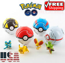 4 x Pokemon Throw Pop PokeBall Cosplay Pop-up Elf Go Fighting Poke Ball Toy