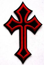 Cross Crucifix Embroidered Iron Sew On Patch Heavy Metal Biker Rock Jesus Goth