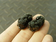 Pair Natural Obsidian Black Jade Pendant twins Chinese Dragon Pixiu amulet W134