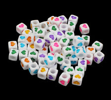 100 WHITE & Colorati Misti Cuore Perline Cubo 6mm