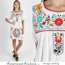Vintage 70s Mexican Dress Boho Hippie Floral Embroidered Ethnic Wedding Mini M