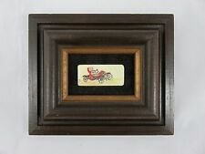 Vintage Miniature Oil Painting on Piano Key - Model T Crank Start Car Ruby Spaid