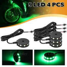 4) Green Color LED Motorcycle Axle Wheel Pod Accent Light Kit Rim Center Glow