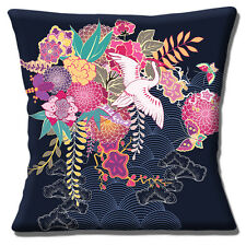 "JAPANESE ORIENTAL ASIAN CRANE GARDEN SCENE FLOWERS 16"" Pillow Cushion Cover"