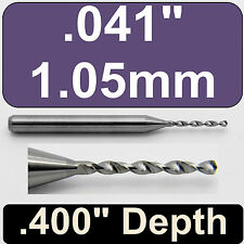 "1.05mm #59 (.041"") Diameter Solid Carbide Drill 1/8"" Shank Kyocera #105-0410.400"