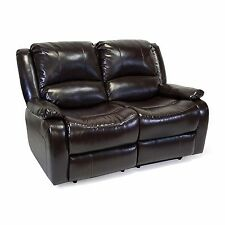 "RecPro™ Charles 58"" Double RV Zero Wall Hugger Recliner Sofa Loveseat Espresso"