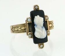 Antique Estate 14K Gold Hand Carved Cameo & Seed Pearl Victorian Ring 2.7g $965