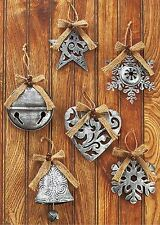 Set/6 Silver Antiqued Ornaments 4 3/8 x 5 ¼ Metal star-snowflake-bell-heart NIB