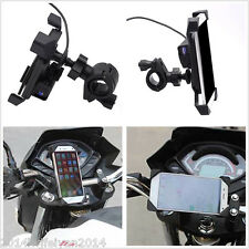 "Universal 3.5-7"" Cell Phone GPS Mount Holder w/ USB Charger for Bike Motorcycle"