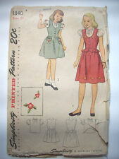 1940's Young girls gathered waist jumper blouse transfers pattern 1840 size 12
