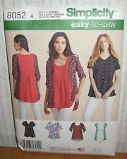 Womens/Misses Easy To Sew Tops Sewing Pattern/Simplicity 8052/SZ XXS-XXL/UCN