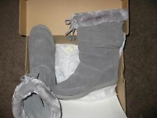 $119 RET Sketchers WEDGE Gray Suede Fleece Shearling Calf-Hi Boots Womens 9, 8.5