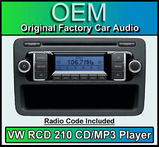 VW RCD 210 CD MP3 player, VW Caddy car stereo headunit with radio code