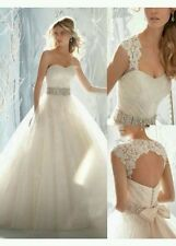 UK 2015 White /Ivory Lace Wedding Dress Bridal Gown Size 6-18